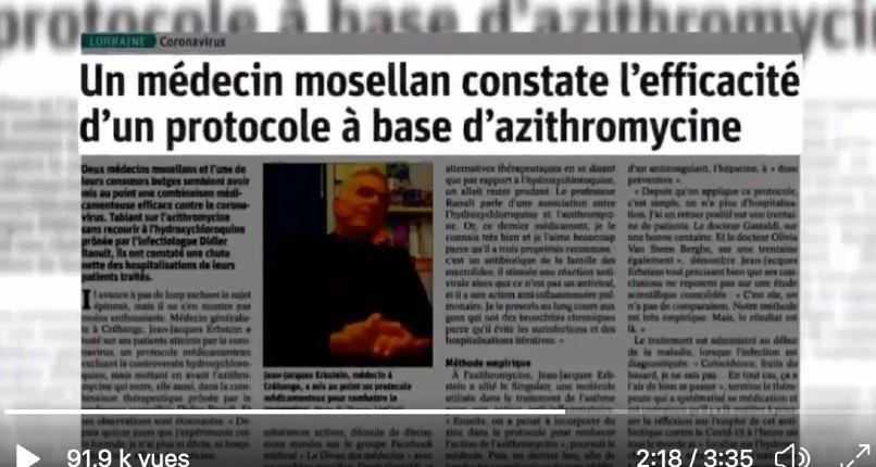 Témoignage du docteur Erbstein, généraliste «J'ai traités 80 patients du Covid, 0 hospitalisation et 0 décès (azithromycine + zinc)», le Conseil de l'Ordre l'accuse de ne pas avoir appliqué les consignes gouvernementales de ne pas soigner les malades ! (Vidéo)