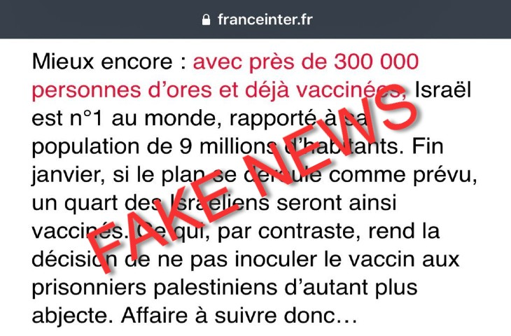 fake news France Inter vaccination prisonniers palestiniens