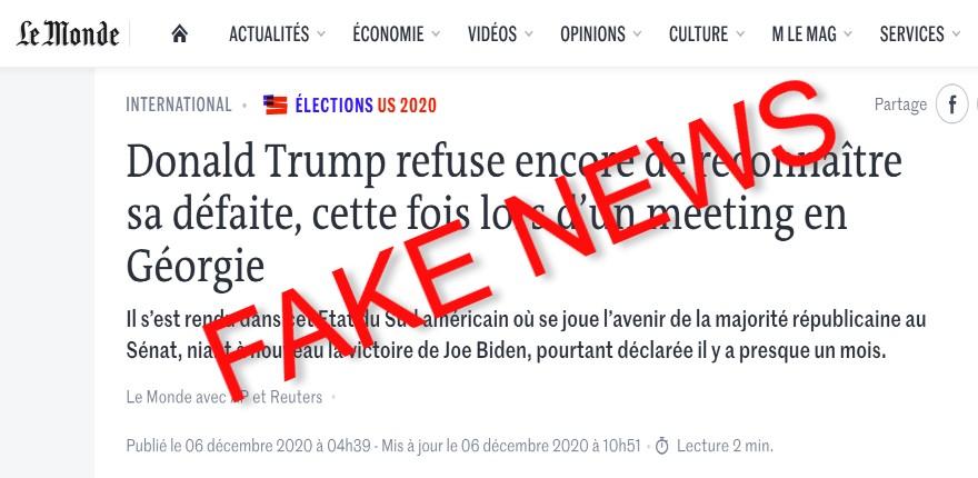 fake news Le Monde sur Trump
