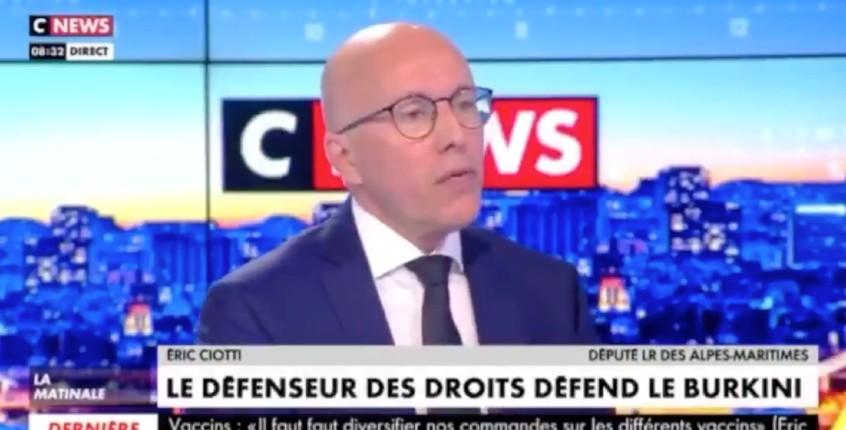 Tandis que le défenseur des droits de Macron défend le burkini, Eric Ciotti veut faire interdire le port du burkini sur les plages et dans les piscines françaises (Vidéo)