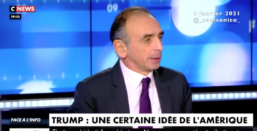 """Éric Zemmour : """"Ceux qui ont divisé l'Amérique ne sont pas les trumpistes mais les mouvements d'extrême-gauche"""" (Vidéo)"""
