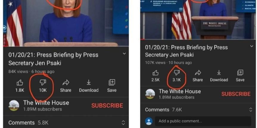 Censure des GAFA: Youtube supprime les «Je n'aime pas» de la page Biden tellement ils sont supérieurs aux «J'aime» et désactive les commentaires après l'avalanche anti-Biden