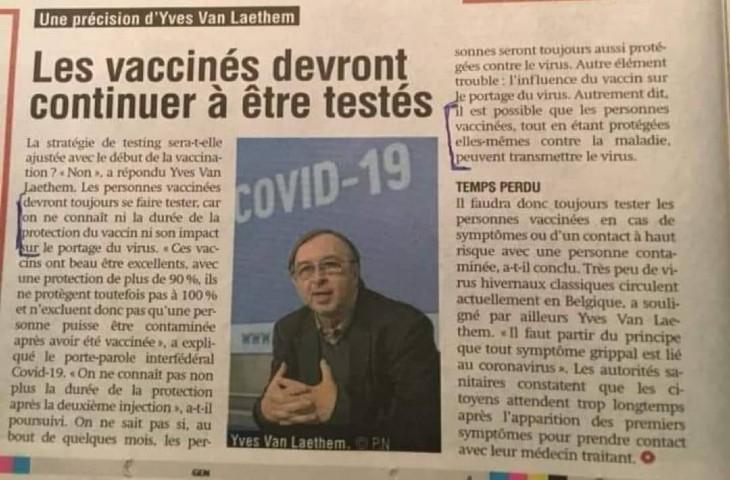 Belgique : les vaccinés devront «continuer à être testés car on ne connait pas la durée de protection ni la contagiosité»