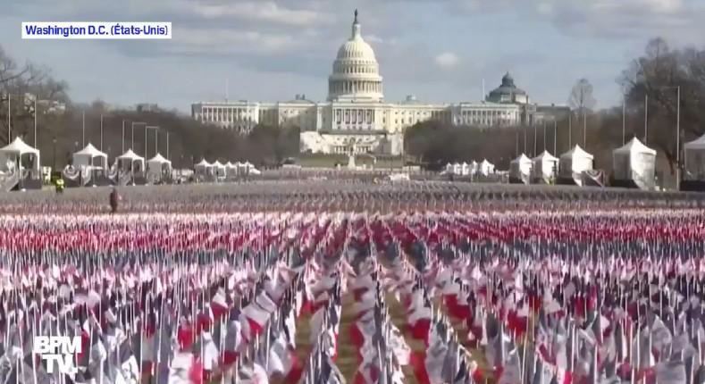 washington investiture de Biden drapeaux