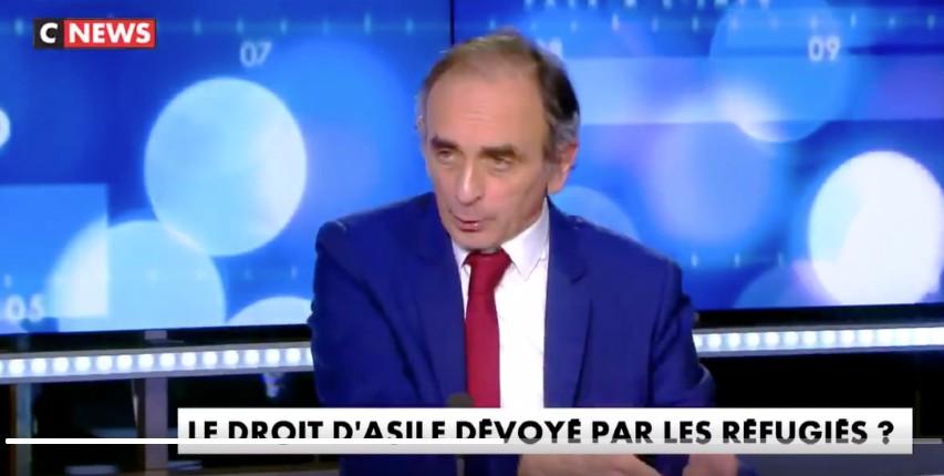 """Zemmour : """"95% des migrants déboutés du droit d'asile restent en France et nous ont à l'usure. On ne les expulse jamais ! C'est une invasion migratoire"""" (Vidéo)"""