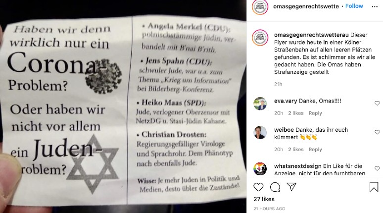 tracts antisémite covid Allemagne