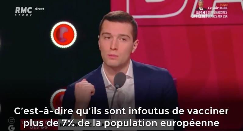 Vaccin: Jordan Bardella «Les dirigeants européens sont infoutus de vacciner plus de 7% de la population et ils ont le culot de nous expliquer qu'ils vont mettre en place un passeport sanitaire avant l'été» (Vidéo)