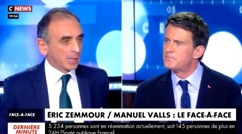 """Eric Zemmour à Manuel Valls : """"Vous dîtes que le grand remplacement n'existe pas, mais dans votre ville il est achevé"""" (Vidéo)"""