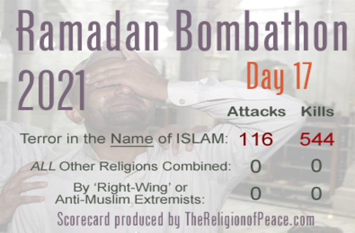 Ramadan 2021, 17ème jour: déjà 116 attentats et 544 morts par les islamistes. Pendant ce temps «l'islamophobie» n'a encore tué personne…
