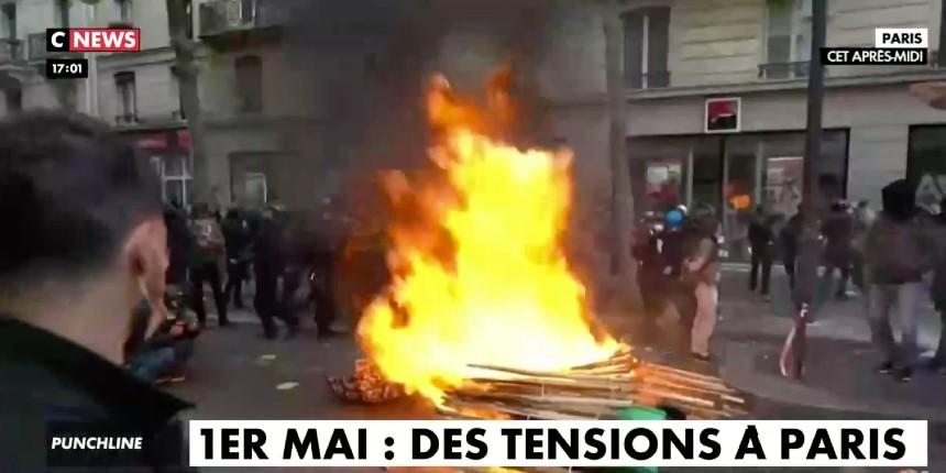 Défilé du 1er mai: la racaille d'extrême gauche ultra-violente casse dans Paris, Lyon, etc. Violente agression d'un pompier en direct… (Vidéo)