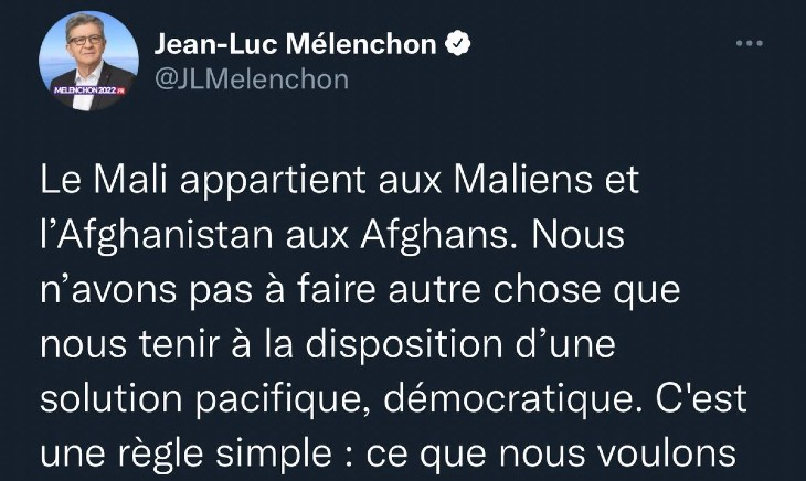 Pour Mélenchon le Mali appartient aux Maliens, l'Afghanistan aux Afghans… mais la France appartient aux immigrés ! (Vidéo)