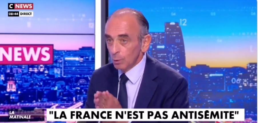 Zemmour «Des antifas criaient «Zemmour sioniste, rentre dans ton pays», c'est l'extrême gauche qui est antisémite. La France n'est pas antisémite, c'est le pays le moins raciste du monde» (Vidéo)
