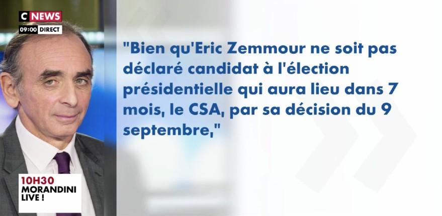 Suite à la décision du CSA aux ordres de Macron, CNews annonce le départ d'Eric Zemmour de l'émission « Face à l'info » (Vidéo)