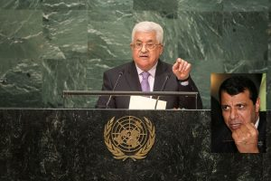 PA President Abbas speaking at the UN 2016. Mohamed Dahlan, thought to be a main contender to succeed him in the inset