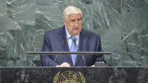 Walid Al-Moualem, Deputy Prime Minister of Syria, addresses the 71st session of the United Nations General Assembly at the UN headquarters in New York on September 24, 2016