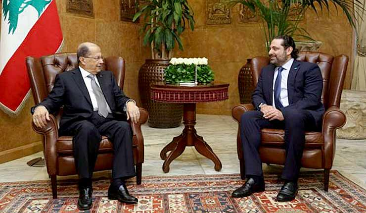 President Michel Aoun and PM-designate Saad Hariri meet at Baabda Palace