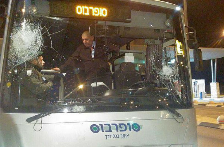 Stoning Attack Smashes Israeli Bus Windshield
