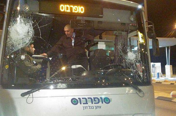Stoning Attack Smashes Israeli Bus Windshield