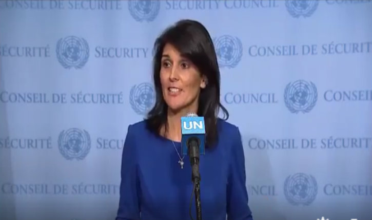 "(Vidéo) Nikki Haley : ""I am here to emphasize that the United States is determined to stand up to the U.N.'s anti-Israel bias."""