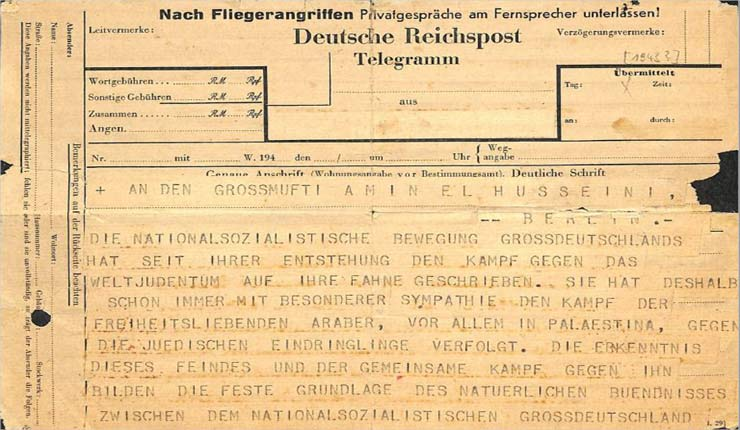 In rediscovered telegram, Himmler offers Jerusalem's Mufti help against 'Jewish intruders'