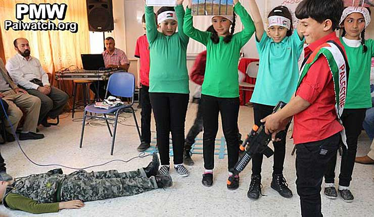 A sick new low for foreign aid: Palestinian boys and girls pretend to execute an Israeli soldier – at schools funded by EU